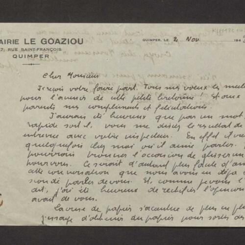 [Lettre d'Adolphe le Goaziou à Armand Keravel]