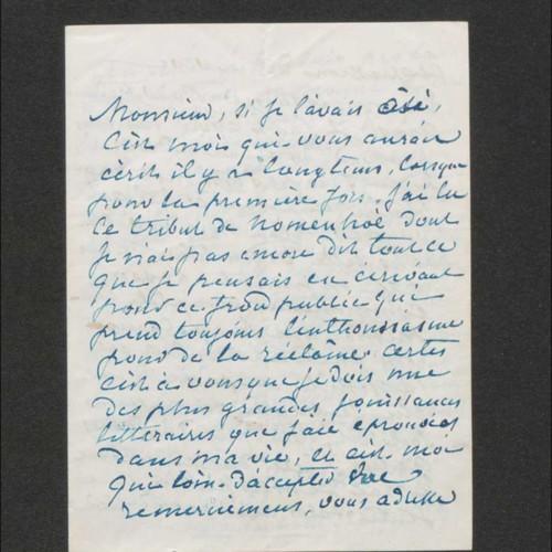 """Lettre de George Sand à Théodore Hersart de la Villemarqué. """"Nohant. Indre. La châtre"""", 26 novembre 1852"""